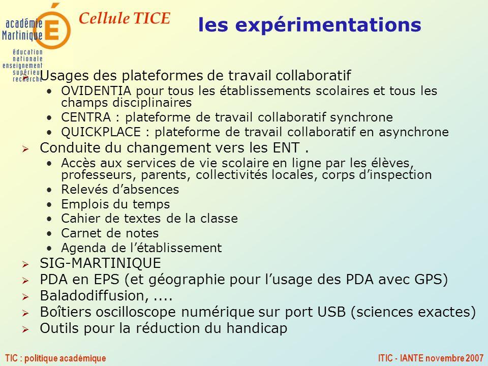 les expérimentations Usages des plateformes de travail collaboratif