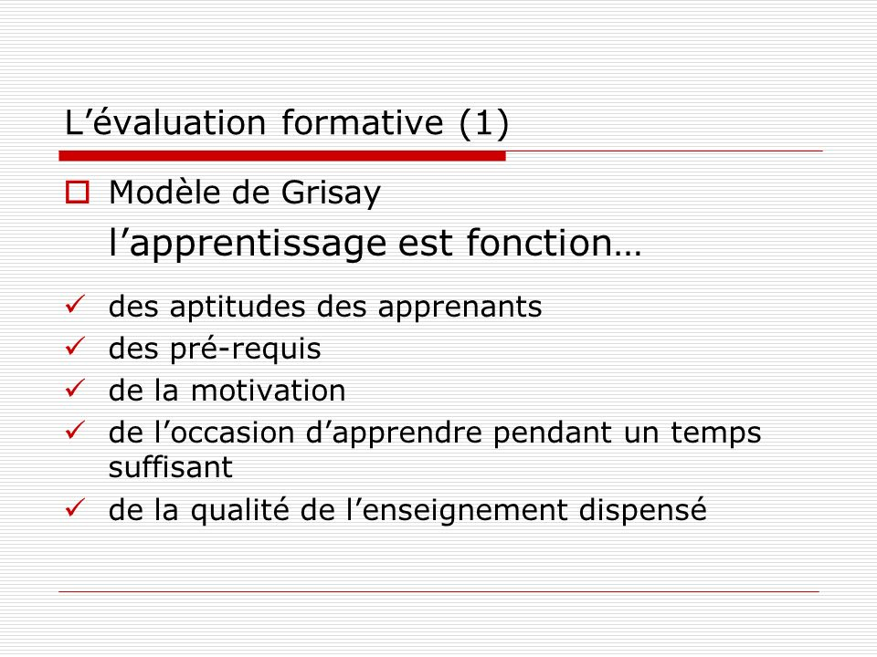 L'évaluation formative (1)