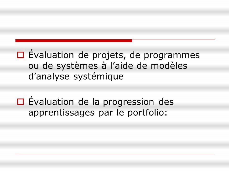 Évaluation de projets, de programmes ou de systèmes à l'aide de modèles d'analyse systémique