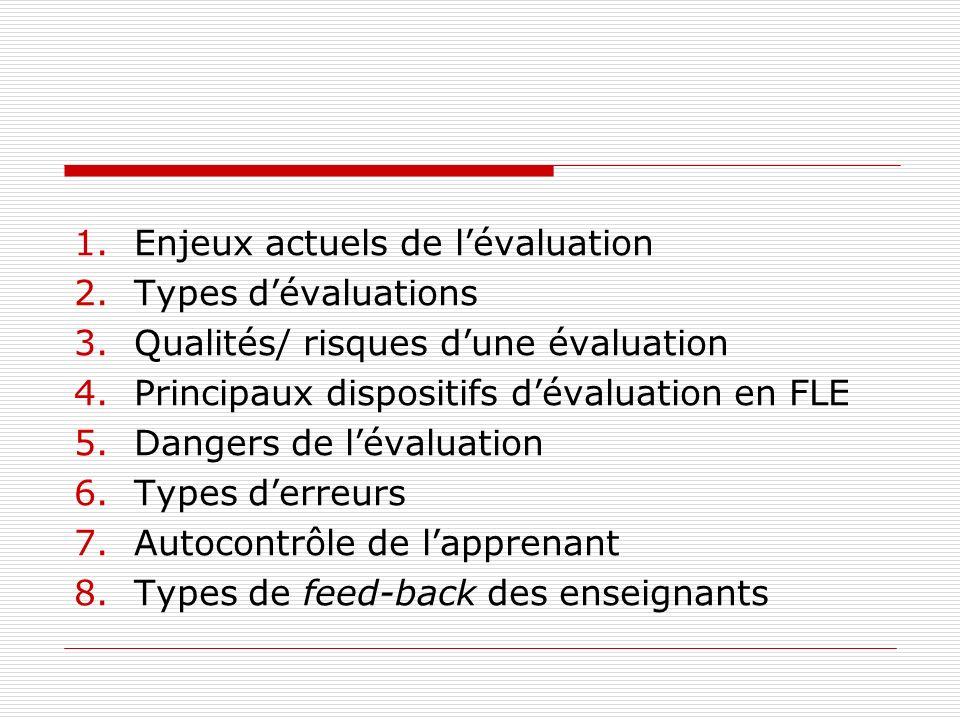 Enjeux actuels de l'évaluation