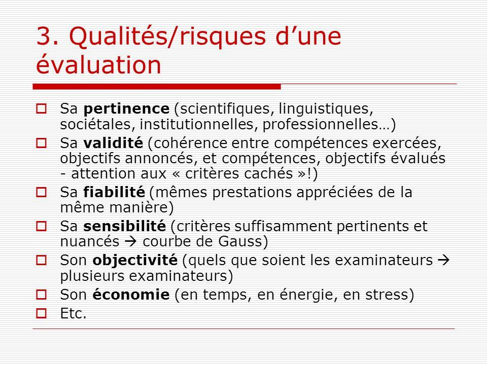 3. Qualités/risques d'une évaluation