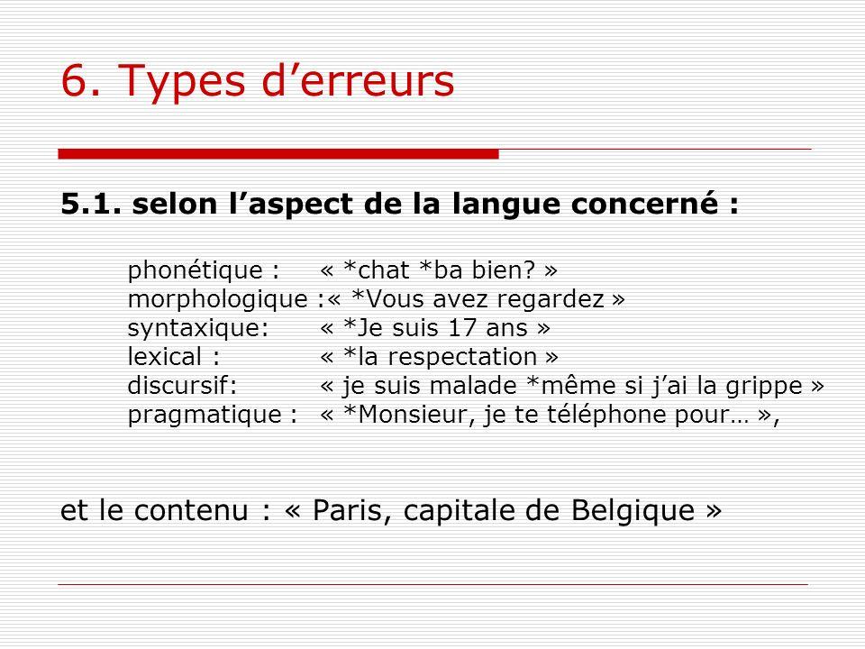 6. Types d'erreurs 5.1. selon l'aspect de la langue concerné :