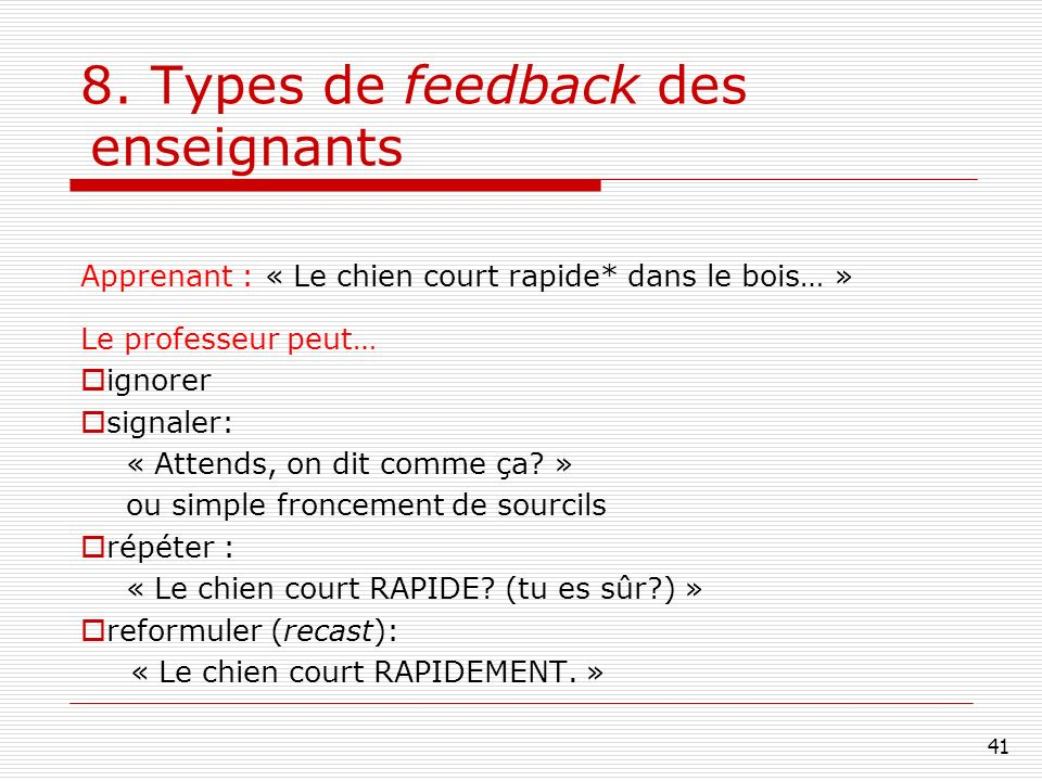 8. Types de feedback des enseignants