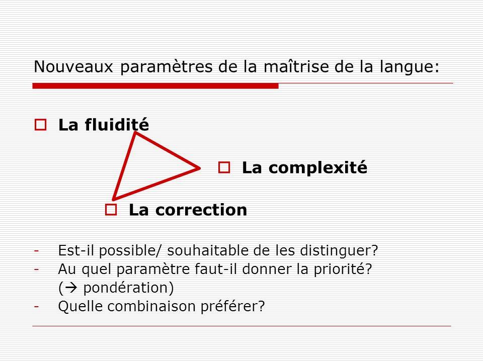 Nouveaux paramètres de la maîtrise de la langue: