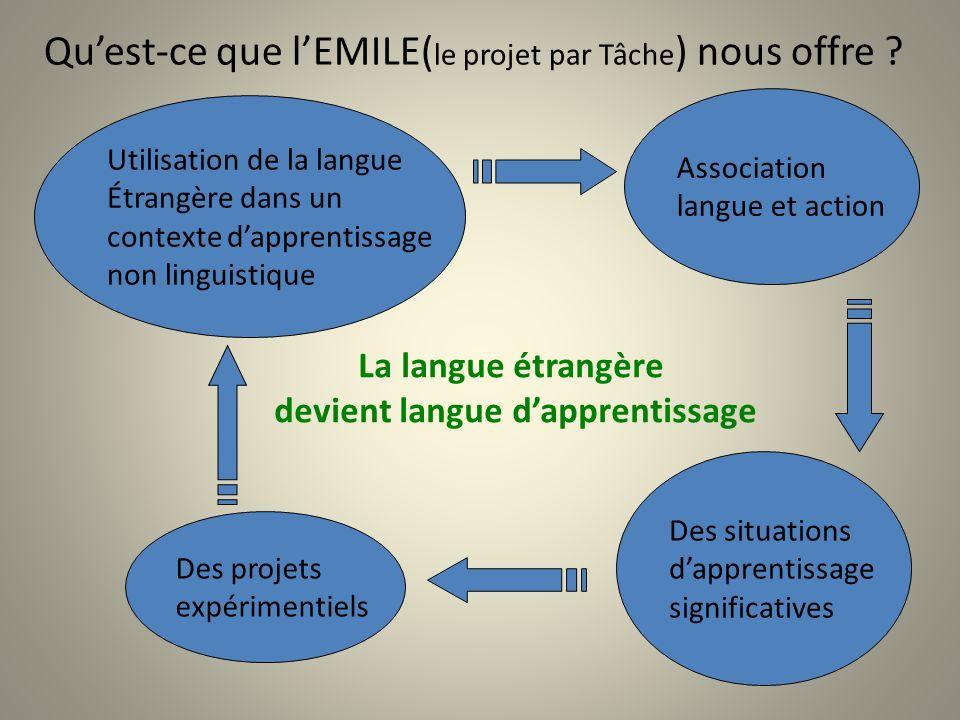 Qu'est-ce que l'EMILE(le projet par Tâche) nous offre