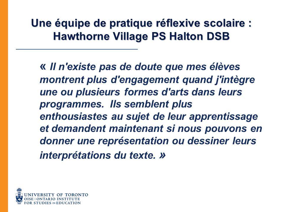 Une équipe de pratique réflexive scolaire : Hawthorne Village PS Halton DSB
