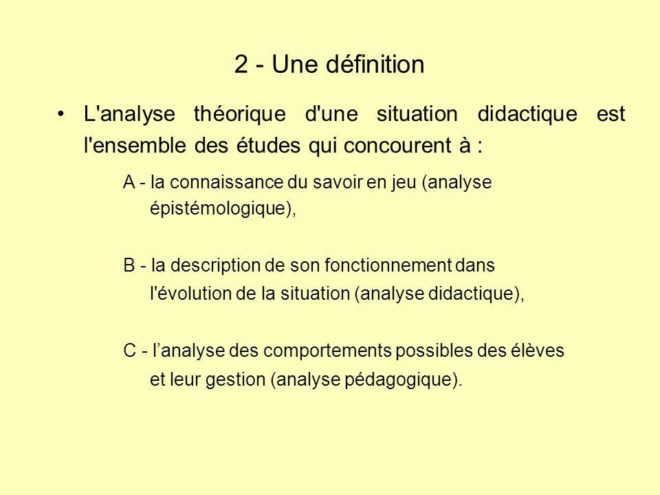2 - Une définition L analyse théorique d une situation didactique est l ensemble des études qui concourent à :