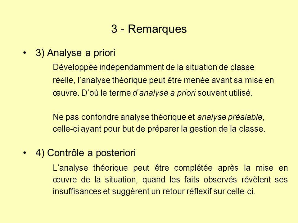 3 - Remarques 3) Analyse a priori 4) Contrôle a posteriori