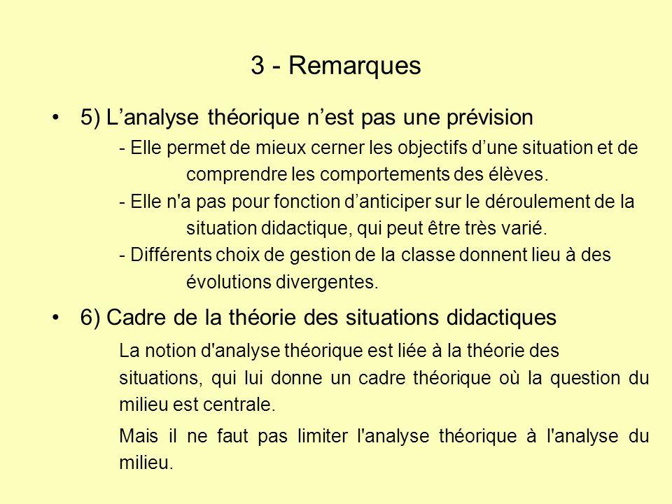 3 - Remarques 5) L'analyse théorique n'est pas une prévision