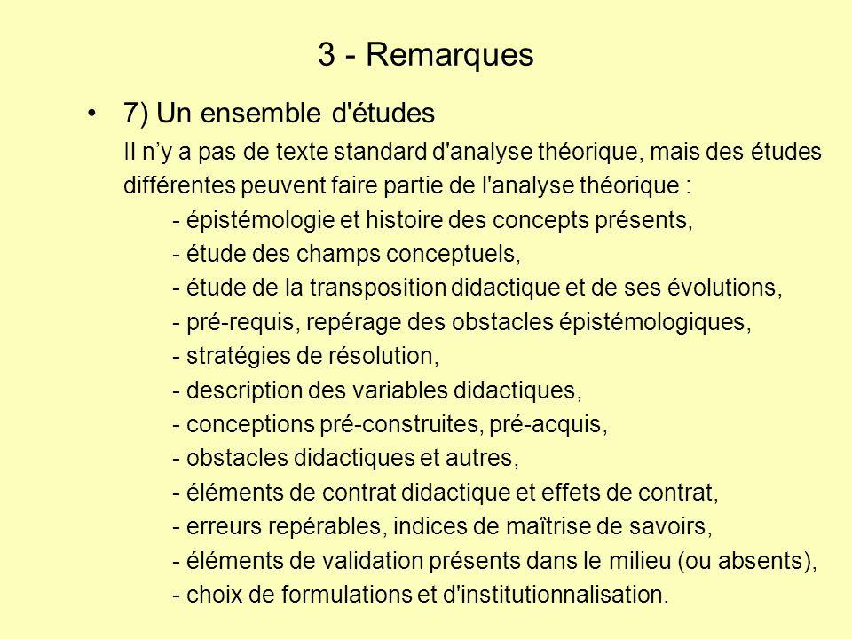 3 - Remarques 7) Un ensemble d études