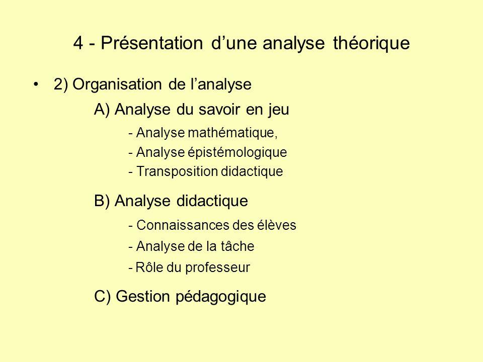 4 - Présentation d'une analyse théorique