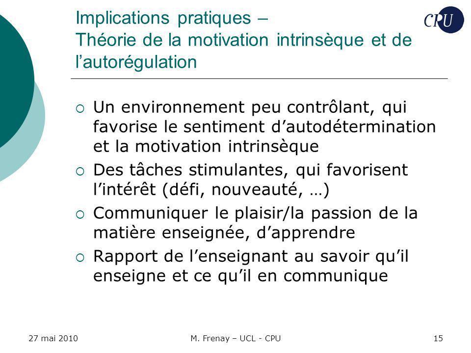 Implications pratiques – Théorie de la motivation intrinsèque et de l'autorégulation
