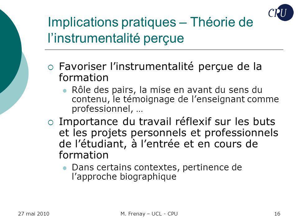 Implications pratiques – Théorie de l'instrumentalité perçue