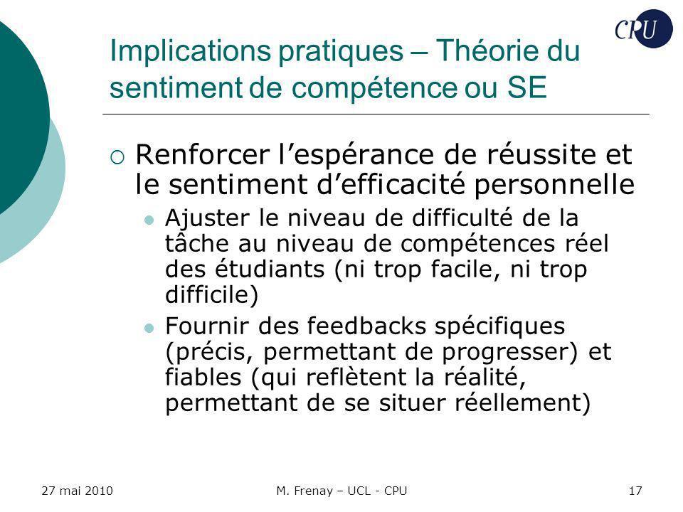 Implications pratiques – Théorie du sentiment de compétence ou SE