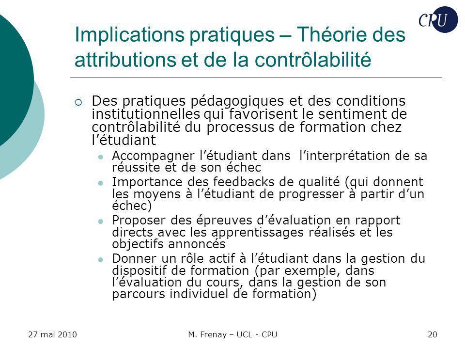Implications pratiques – Théorie des attributions et de la contrôlabilité