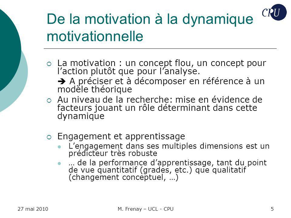 De la motivation à la dynamique motivationnelle