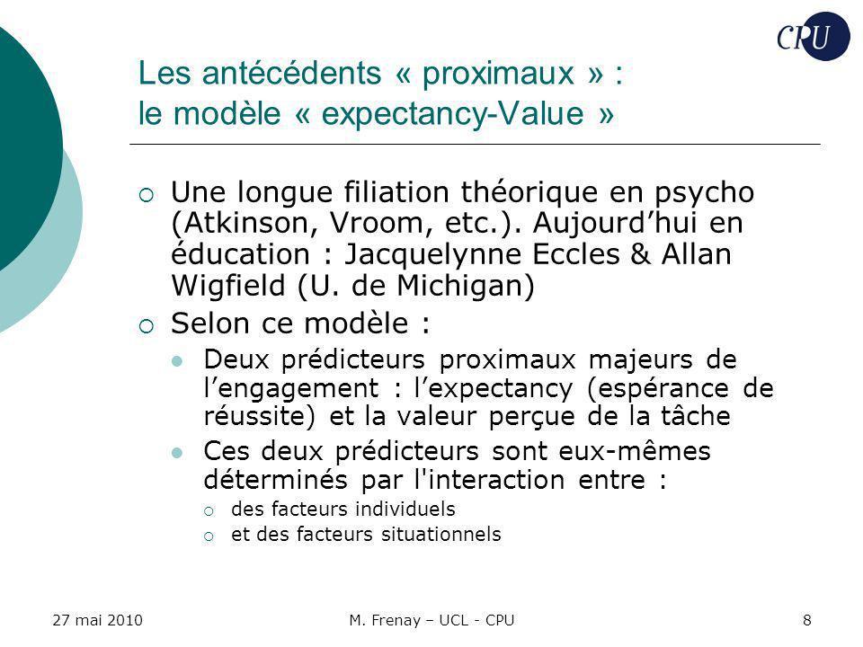 Les antécédents « proximaux » : le modèle « expectancy-Value »