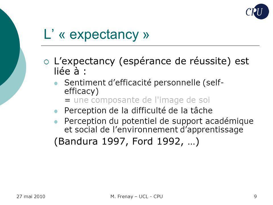 L' « expectancy » L'expectancy (espérance de réussite) est liée à :