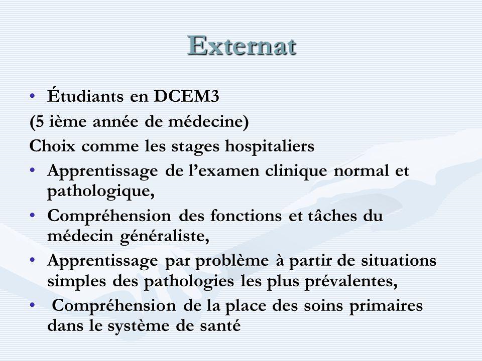 Externat Étudiants en DCEM3 (5 ième année de médecine)