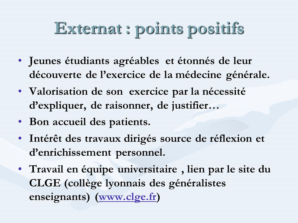 Externat : points positifs