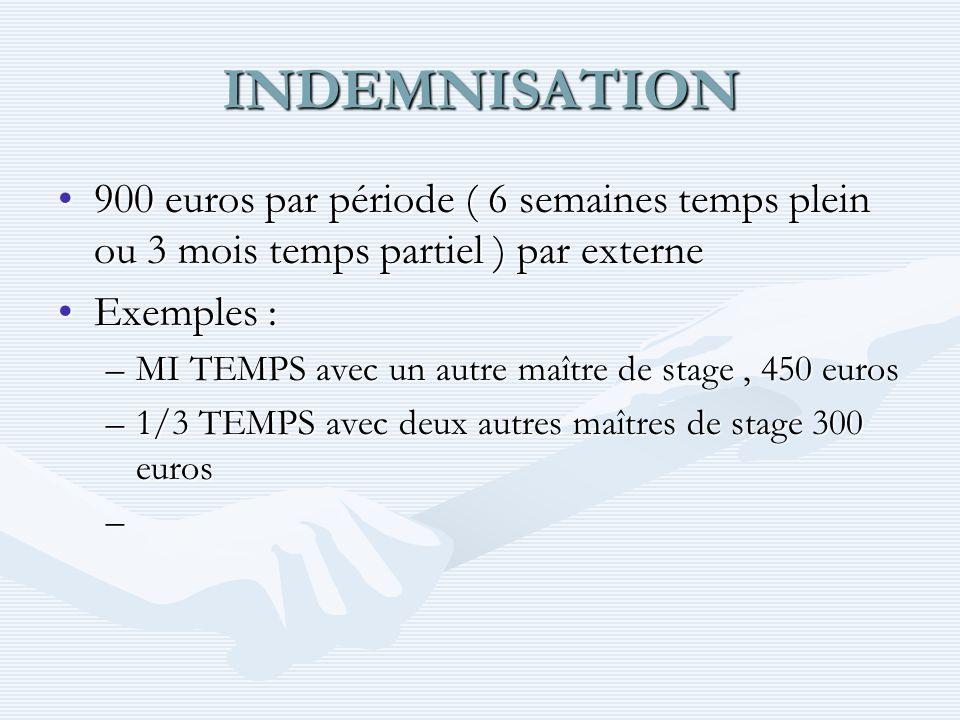 INDEMNISATION 900 euros par période ( 6 semaines temps plein ou 3 mois temps partiel ) par externe.