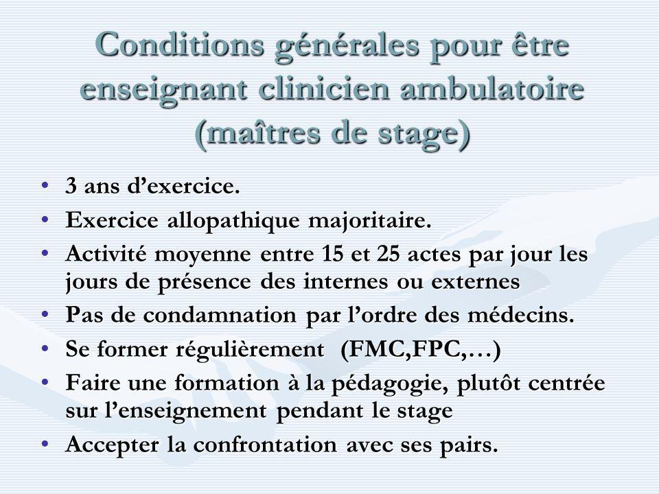 Conditions générales pour être enseignant clinicien ambulatoire (maîtres de stage)