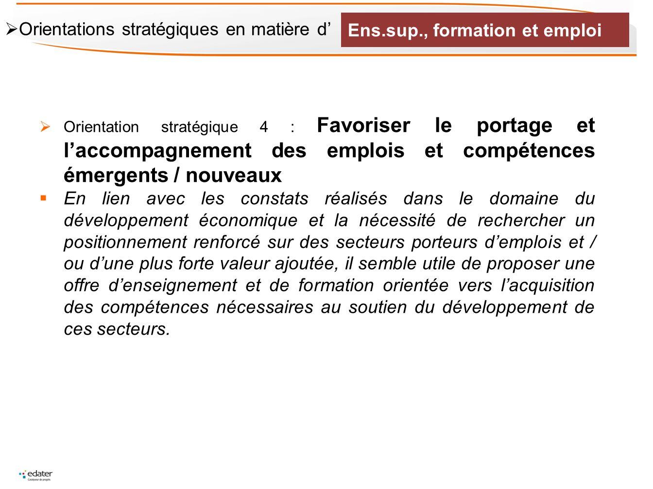 Ens.sup., formation et emploi Orientations stratégiques en matière d'