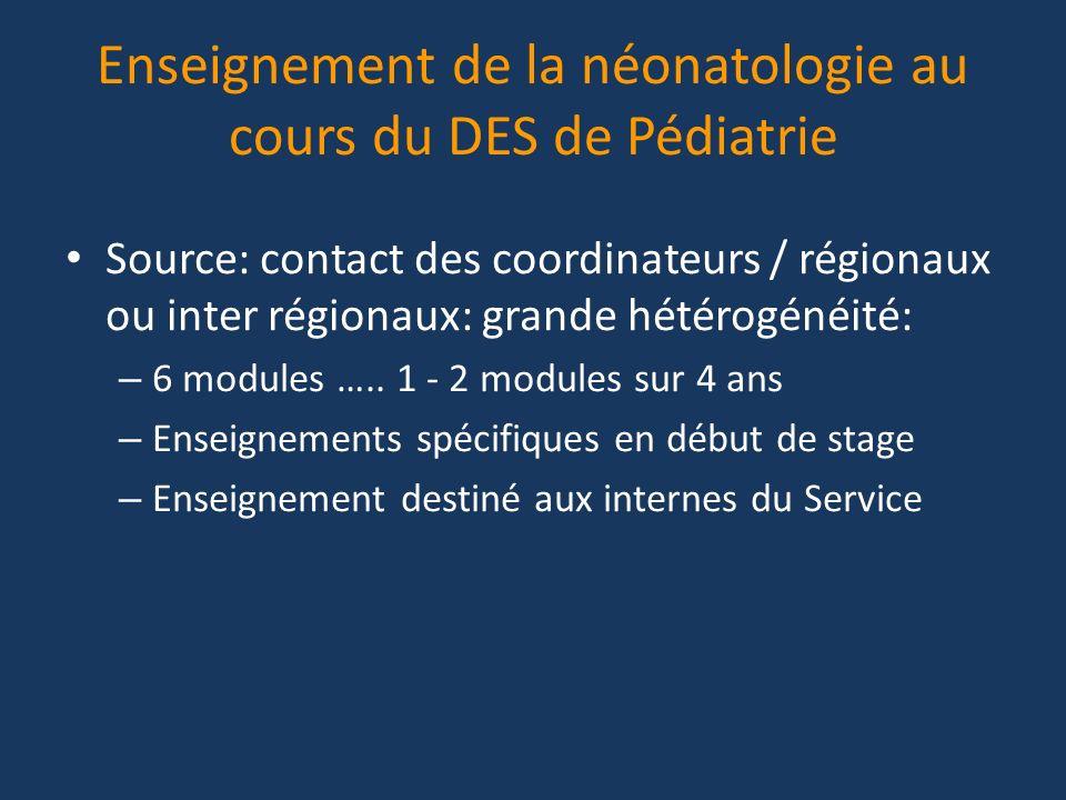 Enseignement de la néonatologie au cours du DES de Pédiatrie