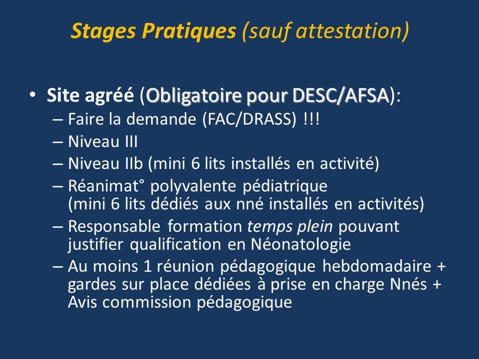 Stages Pratiques (sauf attestation)