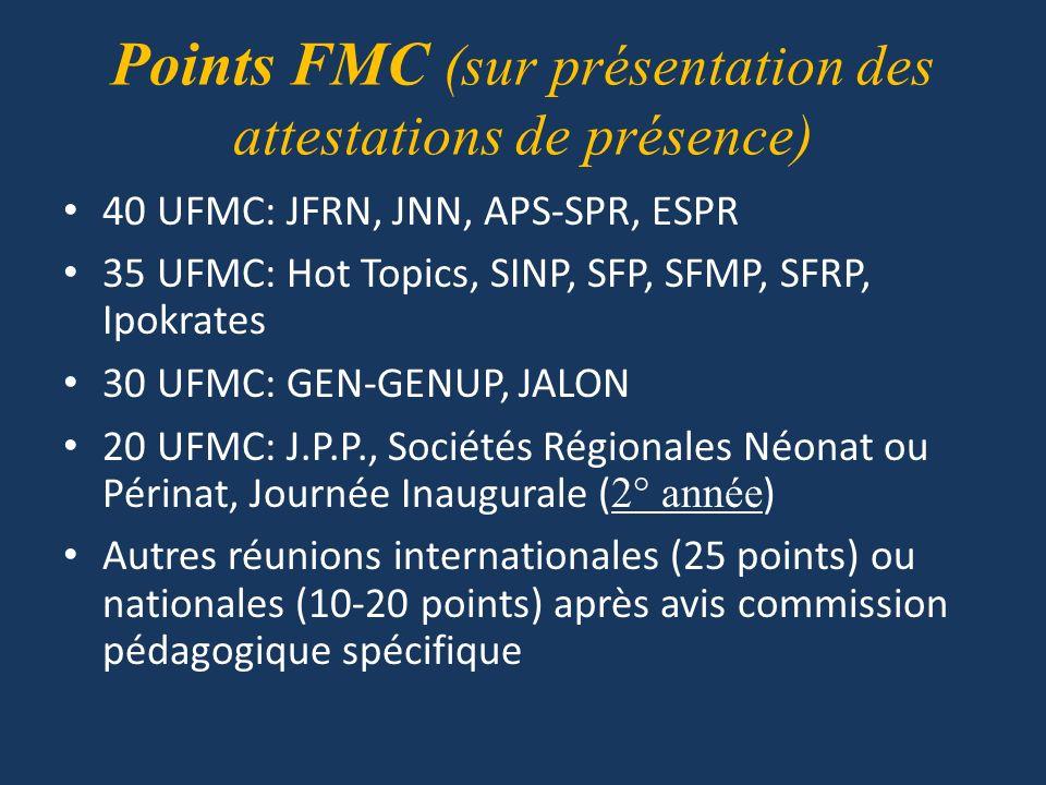 Points FMC (sur présentation des attestations de présence)