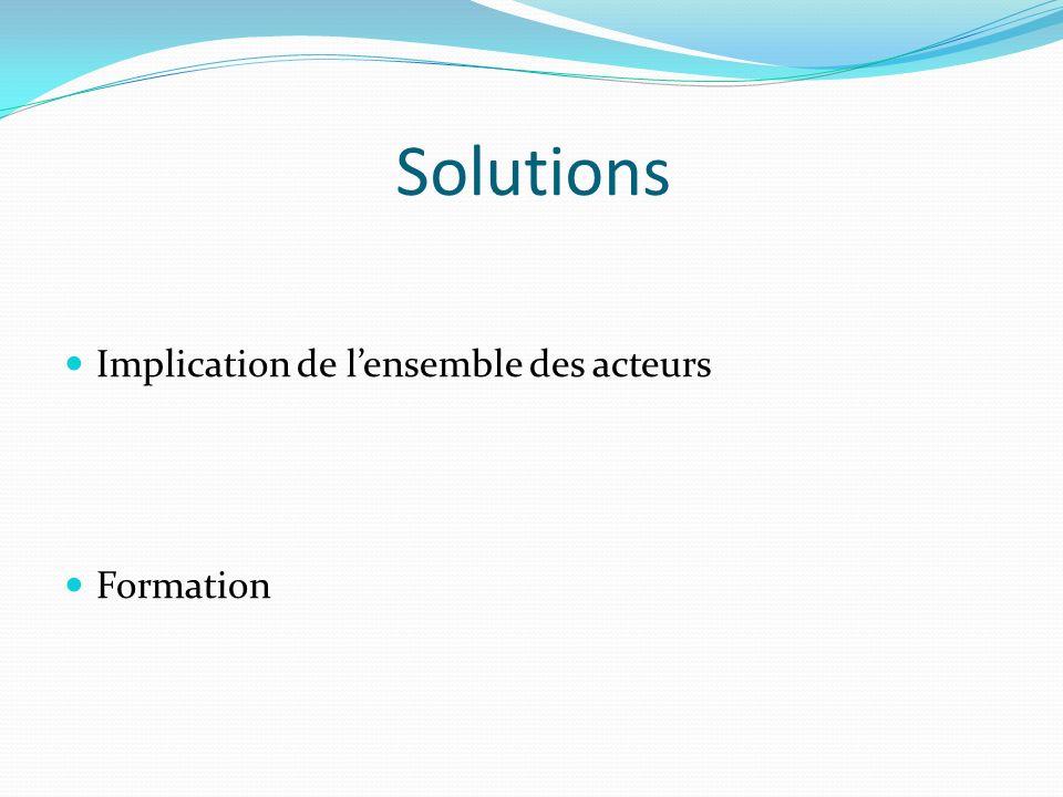 Solutions Implication de l'ensemble des acteurs Formation