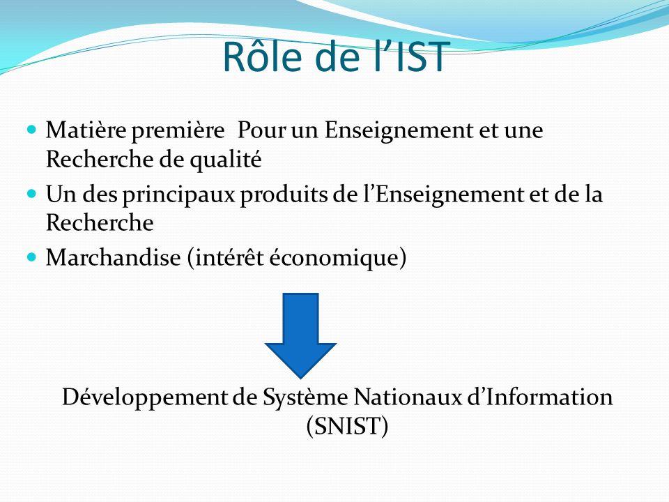 Développement de Système Nationaux d'Information (SNIST)