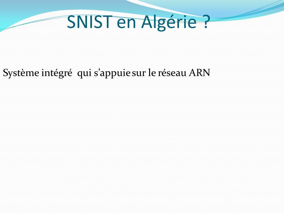 SNIST en Algérie Système intégré qui s'appuie sur le réseau ARN