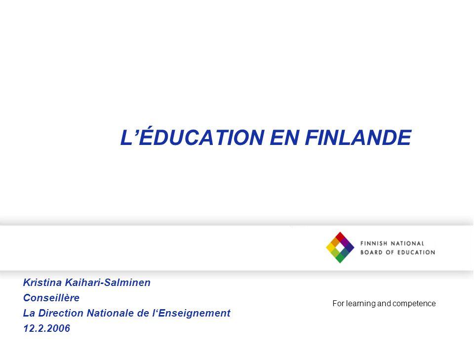 L'ÉDUCATION EN FINLANDE