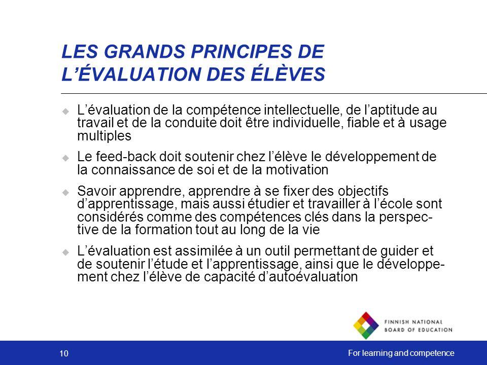 LES GRANDS PRINCIPES DE L'ÉVALUATION DES ÉLÈVES