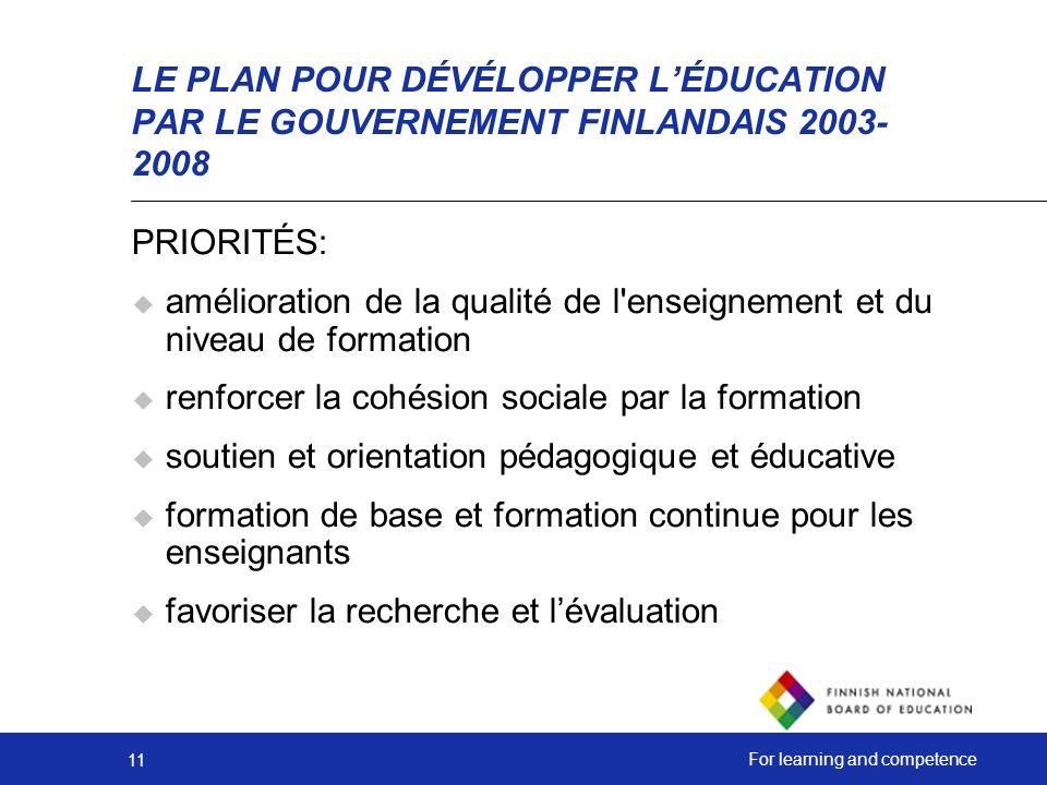 LE PLAN POUR DÉVÉLOPPER L'ÉDUCATION PAR LE GOUVERNEMENT FINLANDAIS 2003-2008