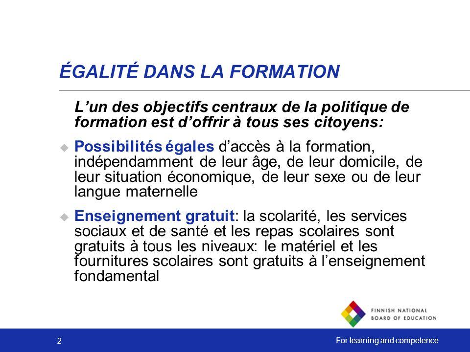 ÉGALITÉ DANS LA FORMATION