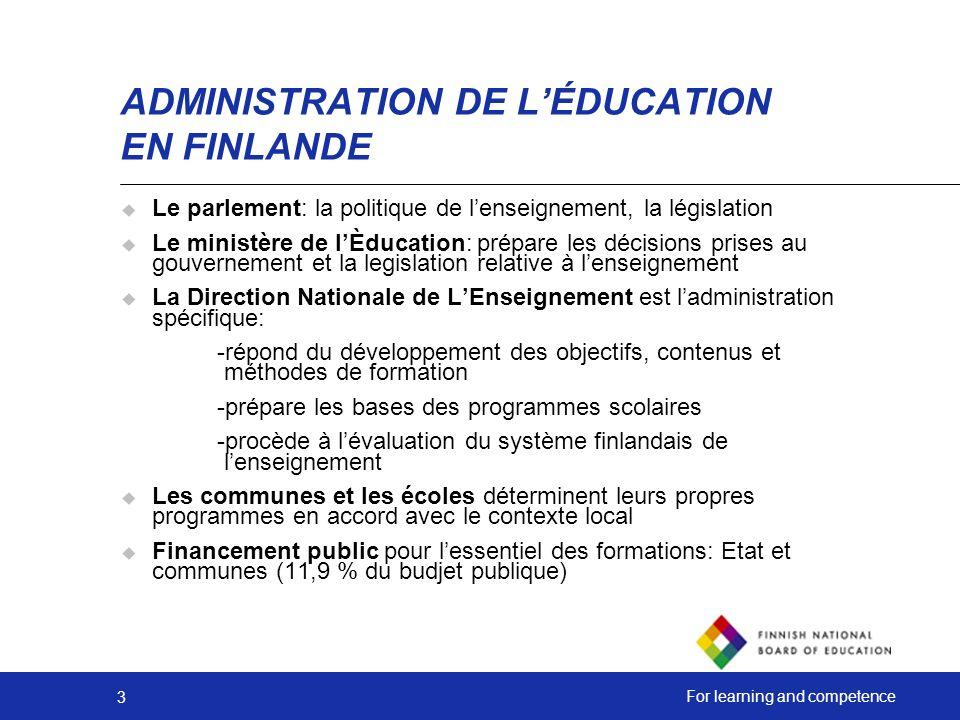 ADMINISTRATION DE L'ÉDUCATION EN FINLANDE