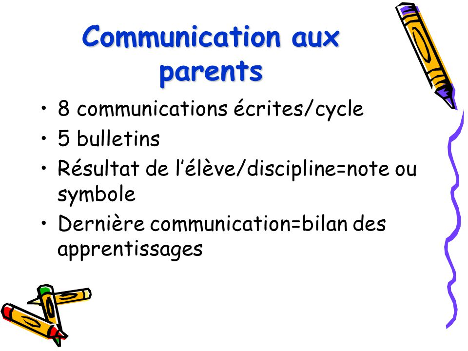 Communication aux parents