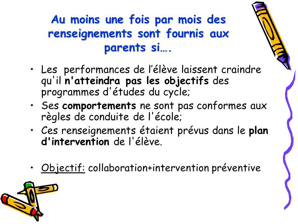 Au moins une fois par mois des renseignements sont fournis aux parents si….