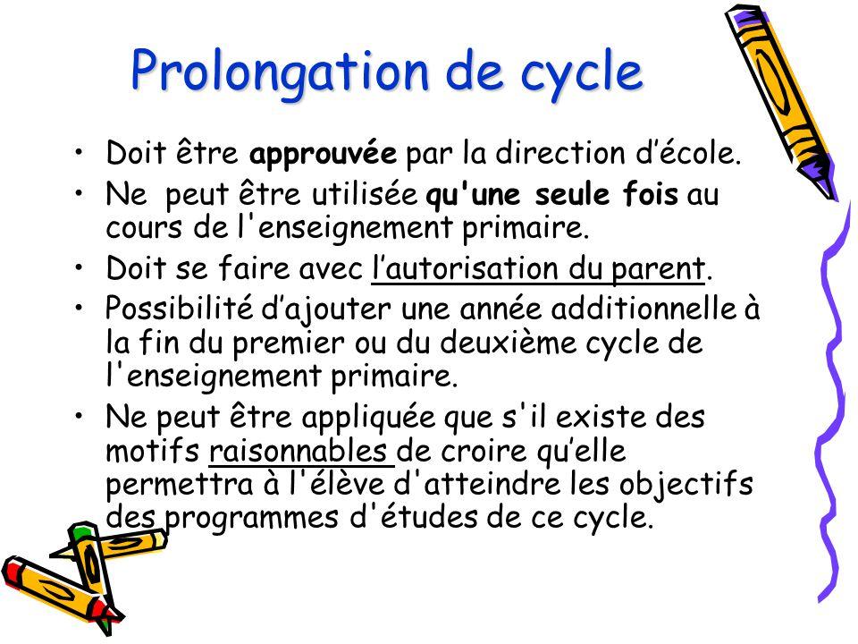 Prolongation de cycle Doit être approuvée par la direction d'école.