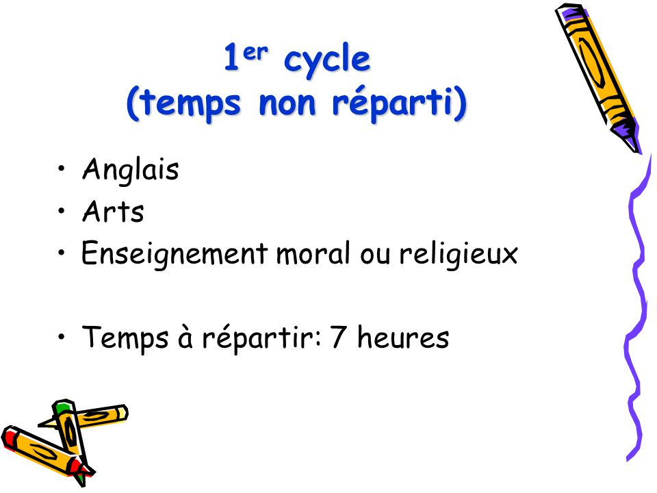 1er cycle (temps non réparti)