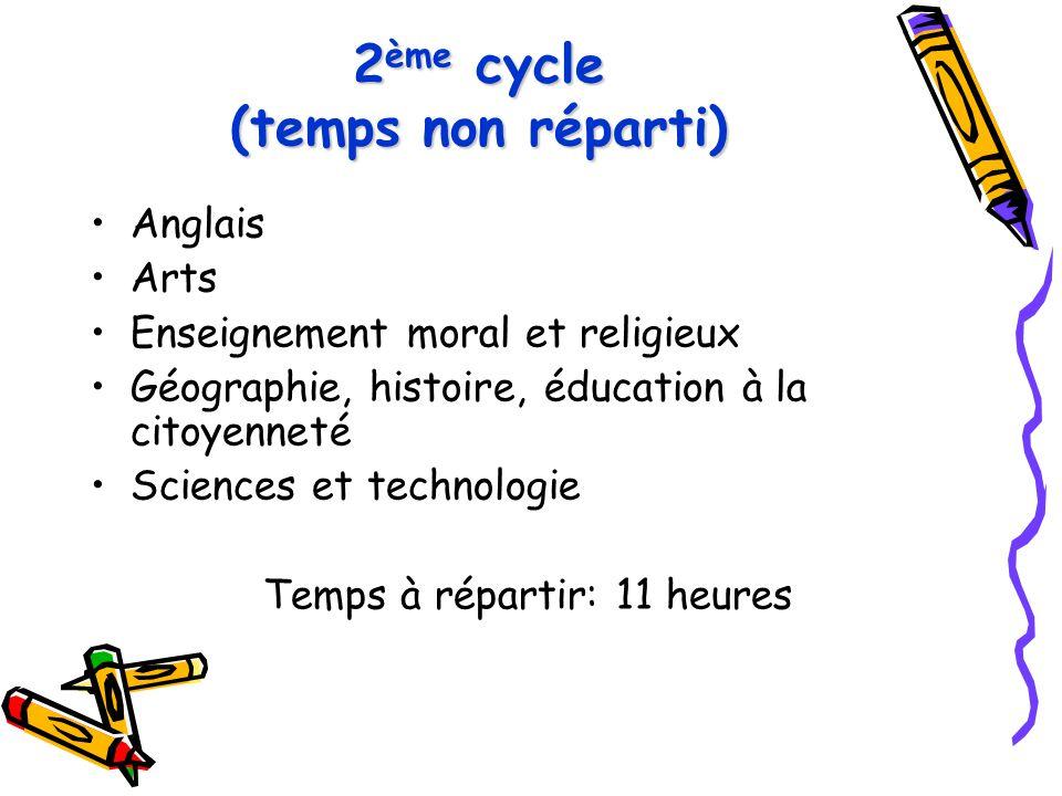 2ème cycle (temps non réparti)