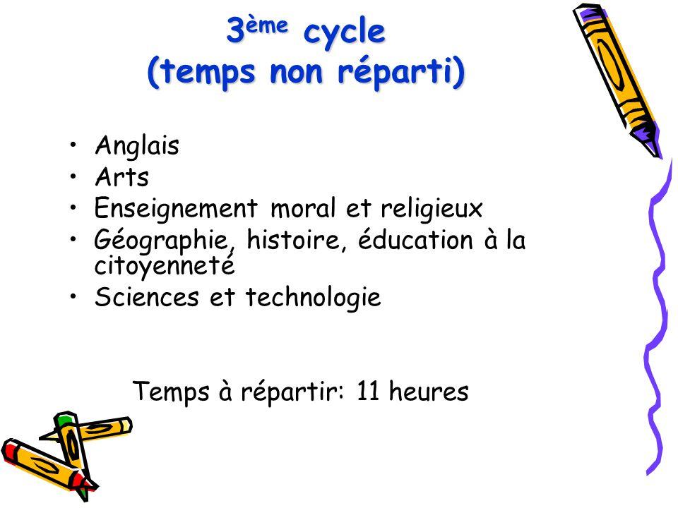 3ème cycle (temps non réparti)