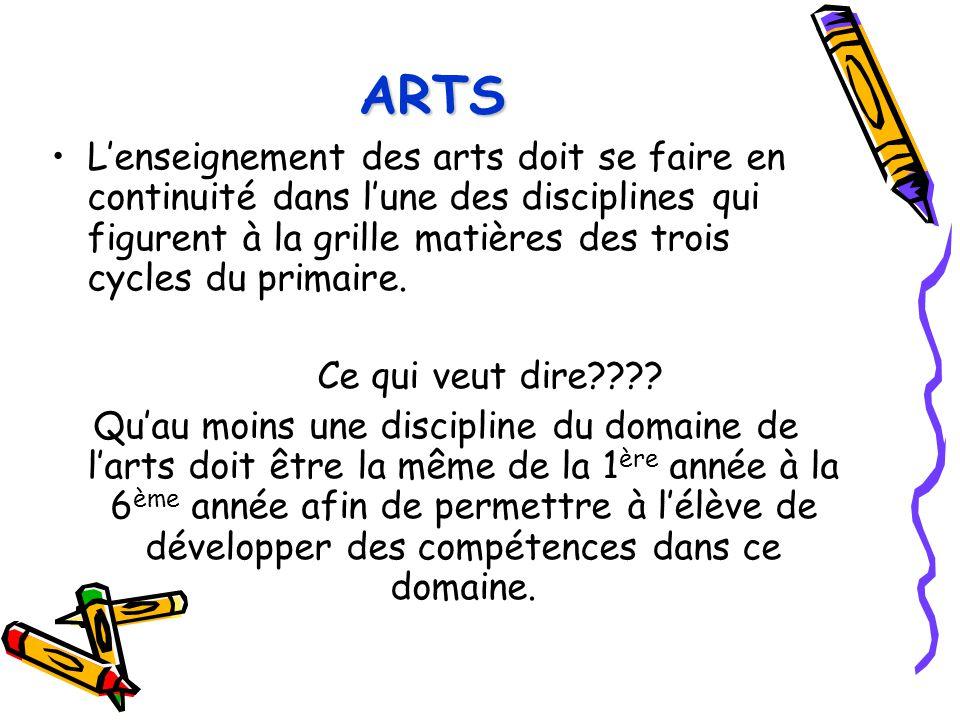 ARTSL'enseignement des arts doit se faire en continuité dans l'une des disciplines qui figurent à la grille matières des trois cycles du primaire.