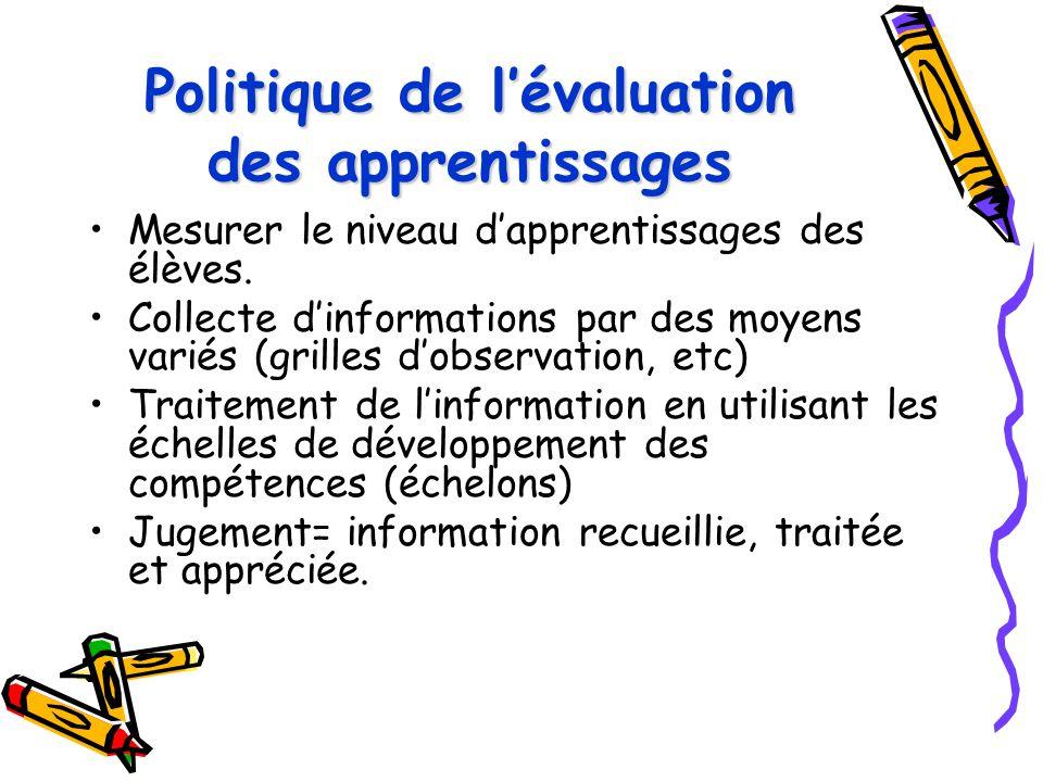 Politique de l'évaluation des apprentissages