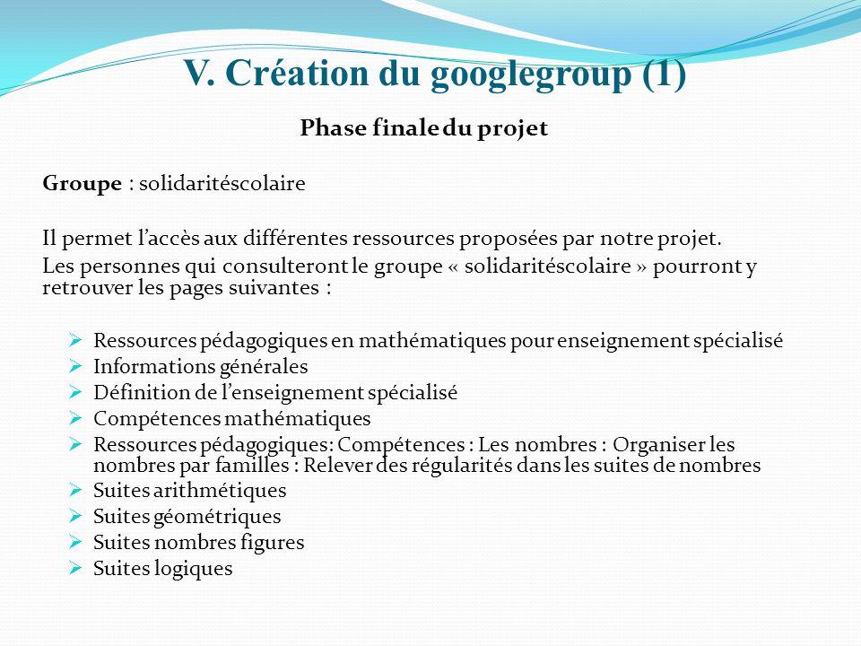 V. Création du googlegroup (1)
