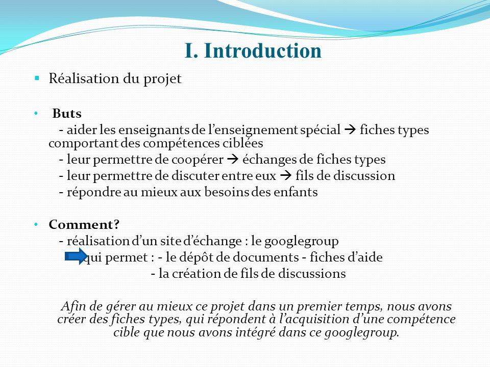 I. Introduction Réalisation du projet Buts