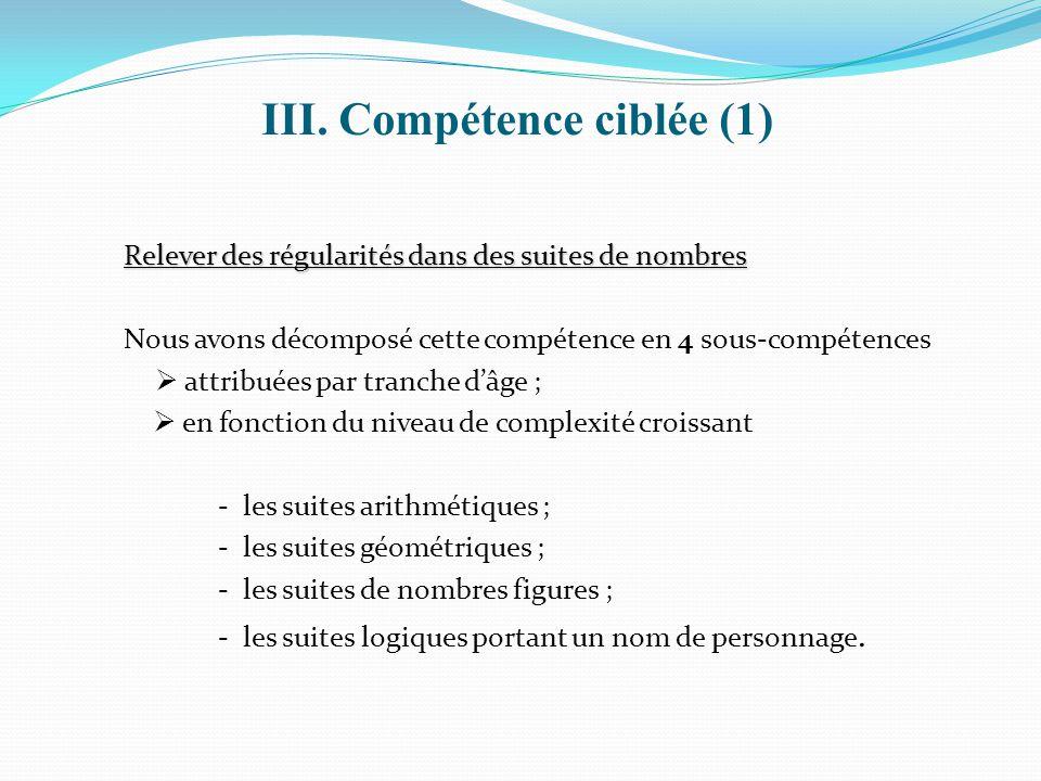 III. Compétence ciblée (1)