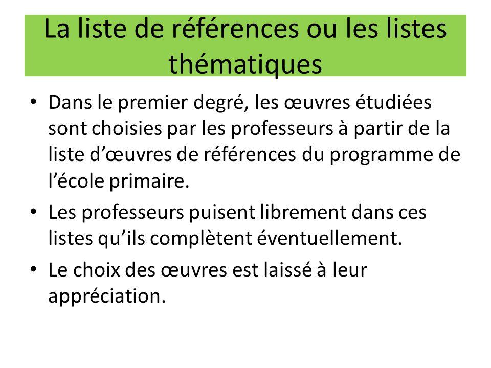 La liste de références ou les listes thématiques